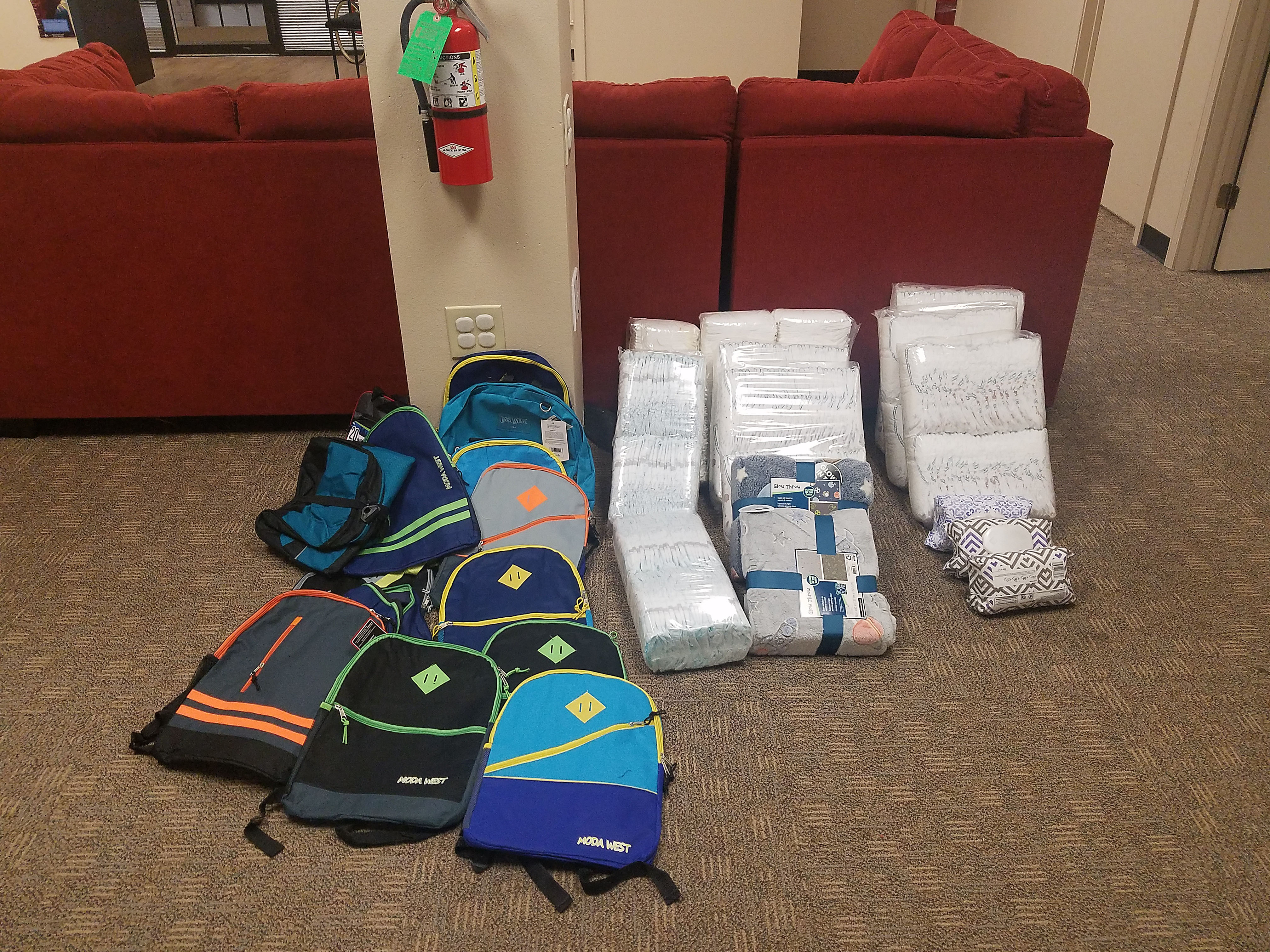 Amarillo Foster In Texas received a backpack and school supplies from the Pantex grant